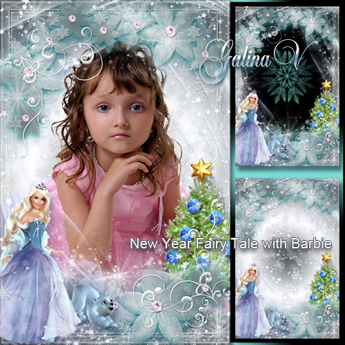 Photo Frame for Little Girls - New Year Fairy Tale with Barbie