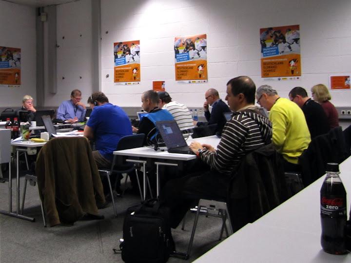 Ein Blick in das Pressezentrum beim Deutschland Cup
