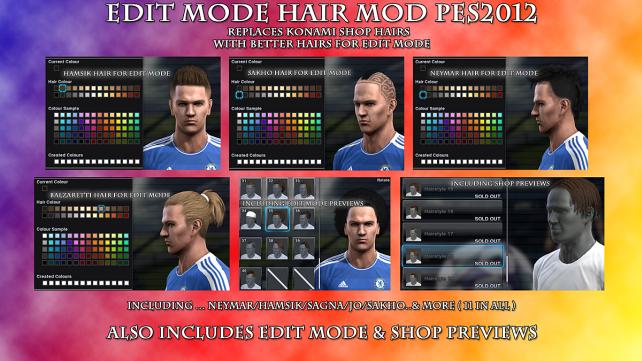 Novos Hairs no Edit Mode - PES 2012