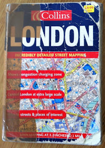 A battered London street map