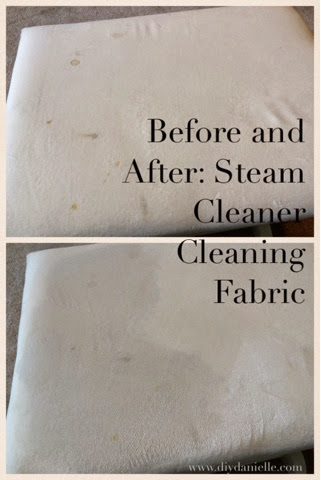 Steam cleaned microfiber couch, before and after