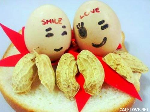 tạo hình tình yêu hạnh phúc từ quả trứng