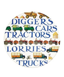 Emma Bridgewater vehicle transport (Diggers, Cars, Tractors, Lorries, Trucks) plates on Zulily