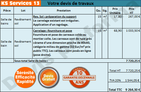 Ks services 13 prix devis r novation total d 39 une salle for Devis carrelage pose