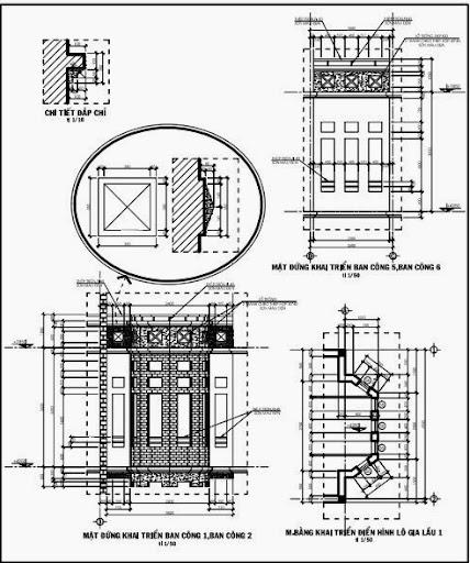 Mặt đứng khai triển ban công và mặt bằng khai triển điển hình lô gia lầu 1