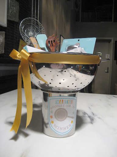 "The 1st Place winner trophy was a Martha Stewart Macy's colander and a kitchen crock. A prefect fit! We filled the trophy ""cup"" with a few of Martha's kitchen ""must have's""."