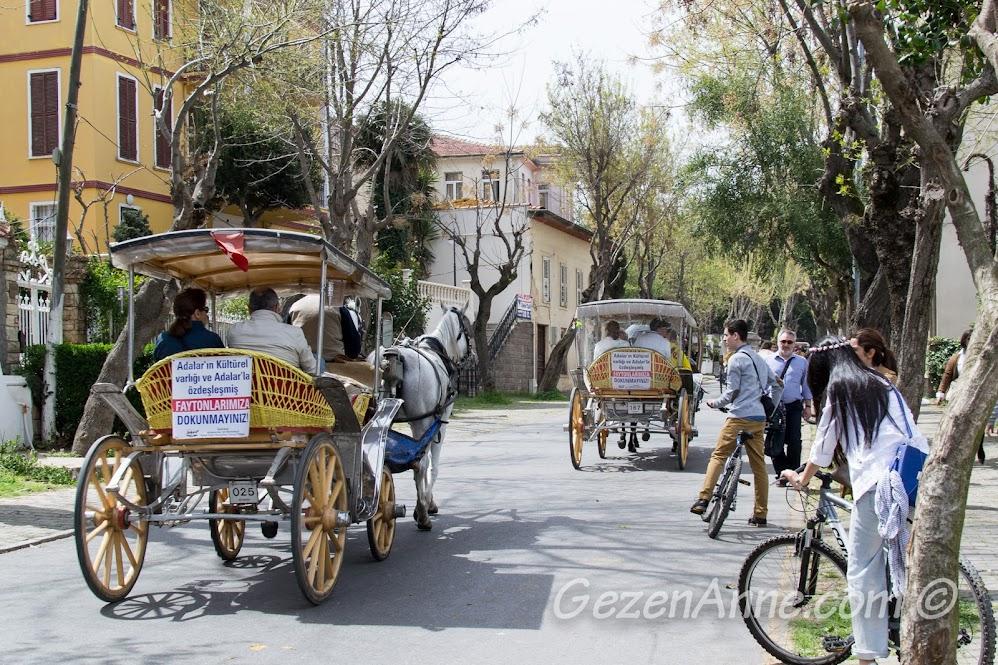 Faytonlu, bisikletli Büyükada sokakları