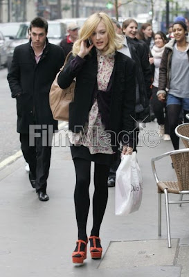 Fearne Cotton seen in Goldie London Pink Floral Erica Dress in London Fashion
