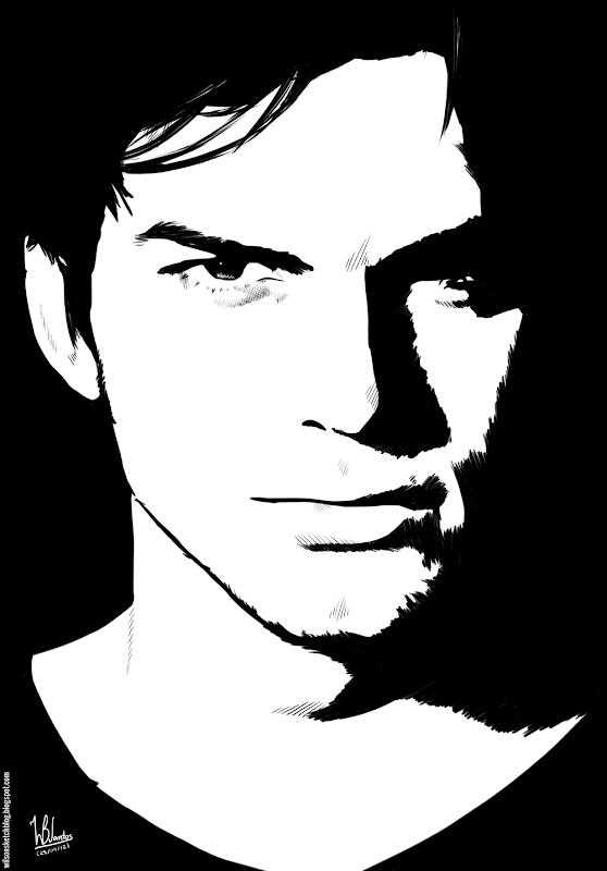 Ink drawing of Ashton Kutcher, using Krita 2.4.