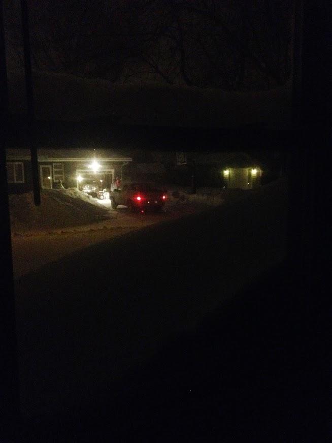 Blizzard snow drifts at windows