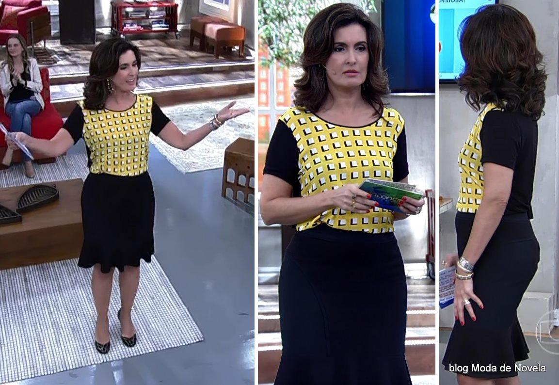 moda do programa Encontro - look da Fátima Bernardes dia 11 de junho