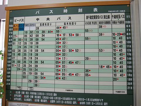 千歳市民病院 建物内に掲示のバス時刻表