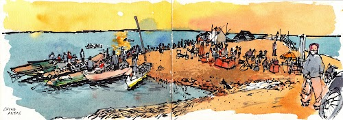 Sketch of sunrise at Chong Kneas Floating Village at Tonle Sap Lake