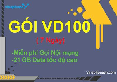 Miễn phí 21Gb data, Gọi không tốn tiền khi đăng ký gói VD100 của Vinaphone