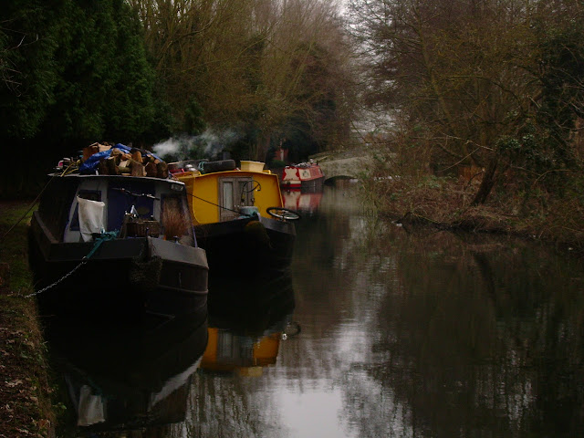 Moored narrowboats