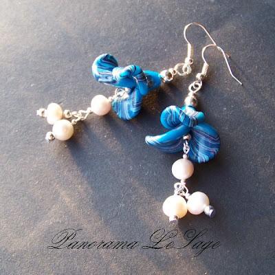 kolczyki z masy polimerowej długie wiszące modelina PanoramaLeSage elementy posrebrzane przekładki kryształi Jabloneks z najwyższej jakości  masy polimerowej fimo perły
