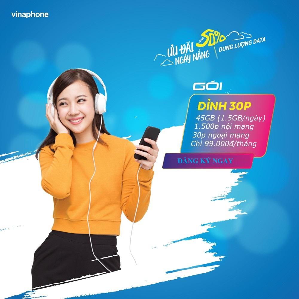 Miễn Phí 30GB, 1.500 Phút Gọi, Gói D30P Vinaphone