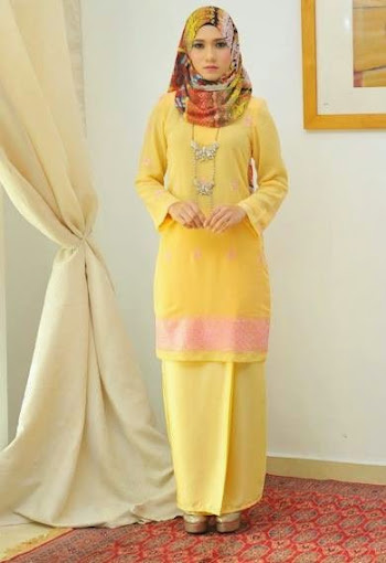 baju kurung moden online baju raya 2014 kuning sulam pink slim cut