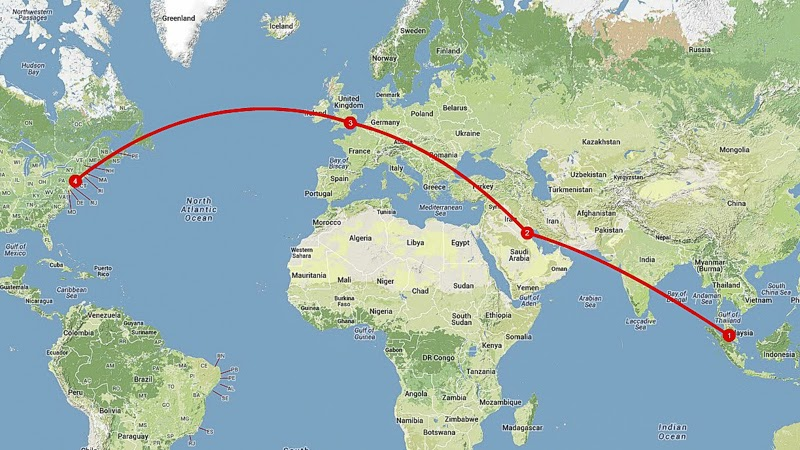 USA Kuala Lumpur KUL To New York JFK With Kuwait Airways - Airline flights map of france to us