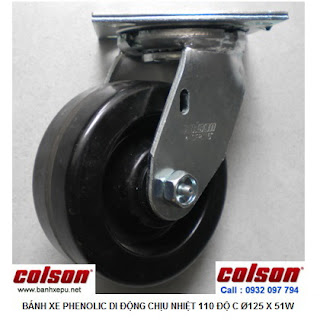 Bánh xe Phenolic chịu nhiệt càng xoay 5 inch Colson Mỹ | 4-5109-339