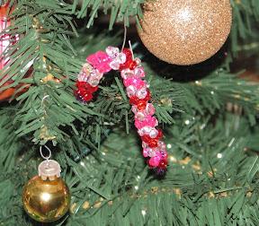 Tri Bead Candy cane ornament