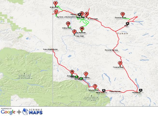 Yukon gold mining map