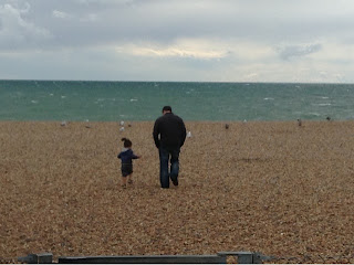 toddler and Hubbie on Brighton Beach