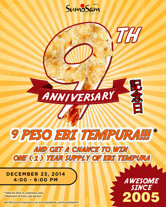 ₱9 Ebi Tempura and Other Promos for Sumo Sam's 9th Anniversary!