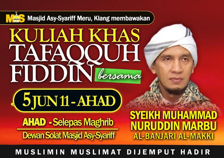 Kuliah Sheikh Muhammad Nuruddin Marbu al-Banjari al-Makki di Kota Damansara www.mymaktabaty.com