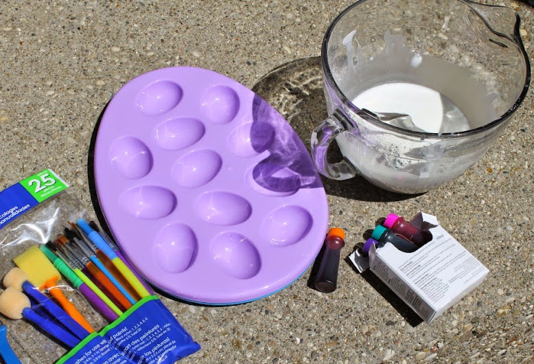 Make DIY Sidewalk Paint with cornstarch, water, and food coloring. #PurellWipes