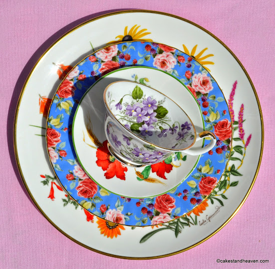 colourful floral bone china plates