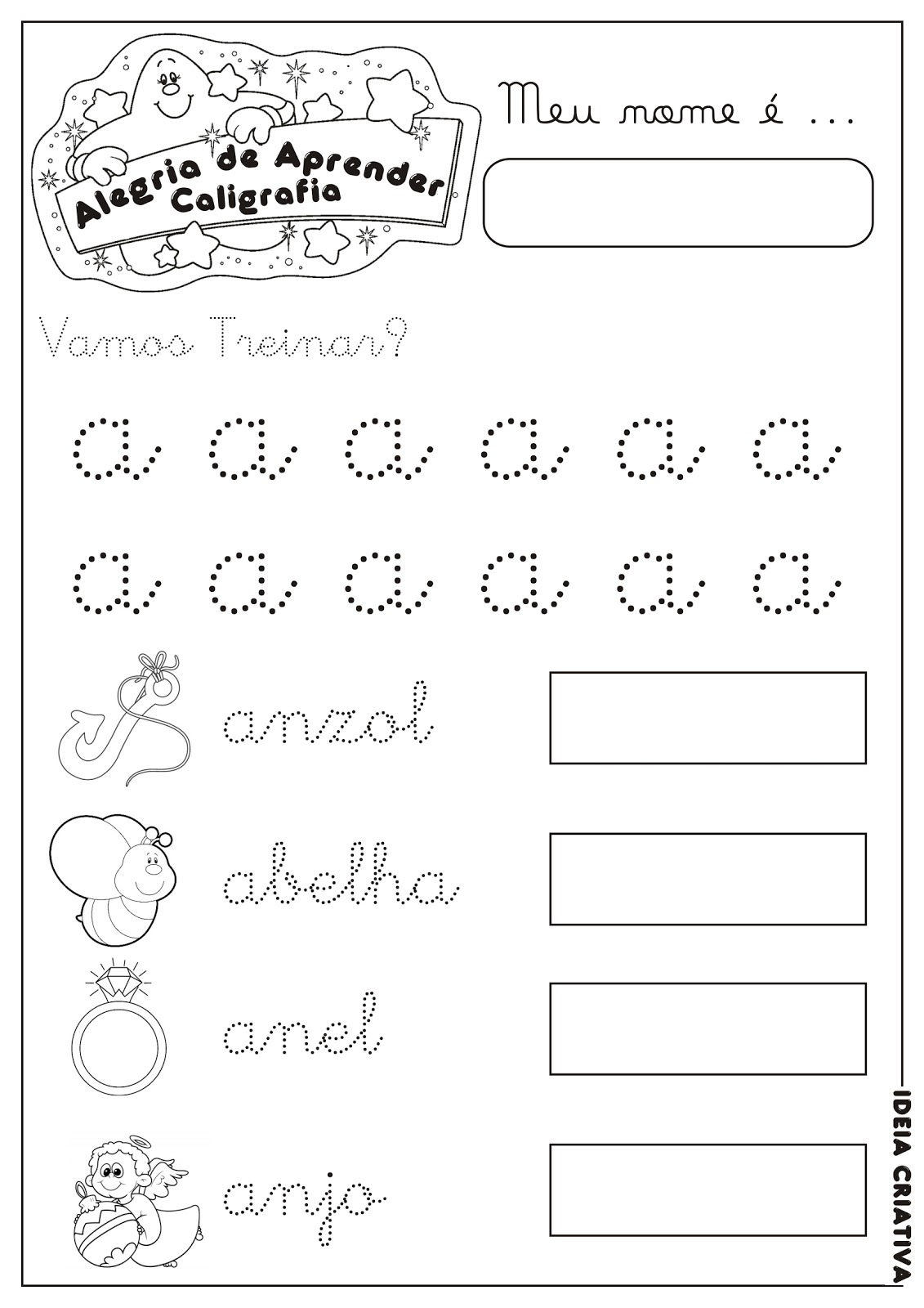 Caderno Letra Pontilhada Min  Scula  1  Cordena    O Motora Letra A