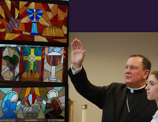 Archbishop Rodi Blesses New Stained Glass in Montgomery Catholic's Chapel 1