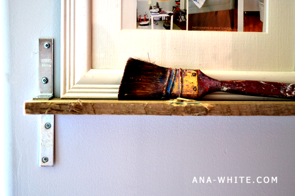 This paint brush has been with me from the beginning. Time to show a loyal  friend some love after all these years! - Ana White Industrial Chic Reclaimed Wood Shelves - DIY Projects