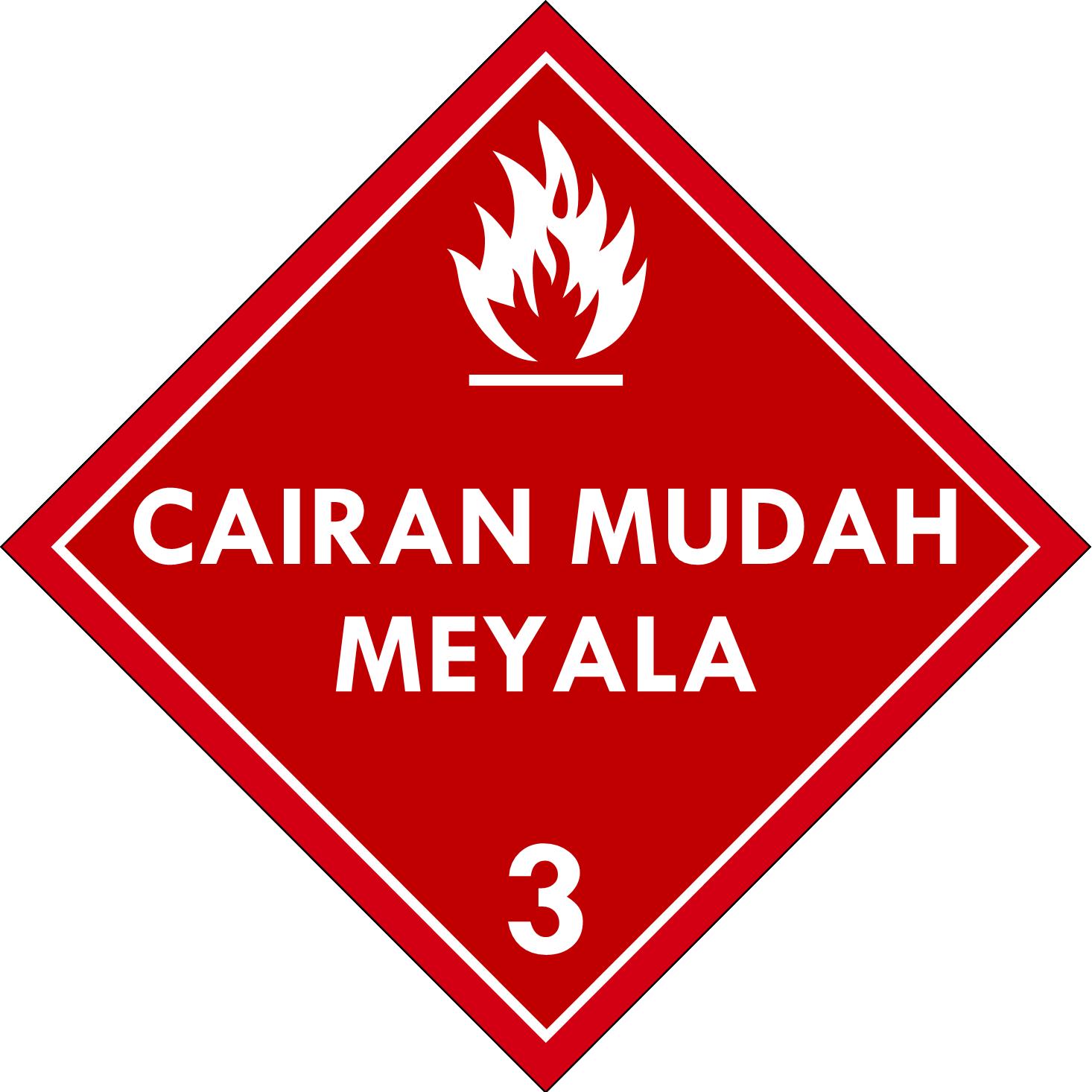 Label (Simbol) Transportasi Bahan (Material) Cairan Mudah Menyala (Terbakar)3