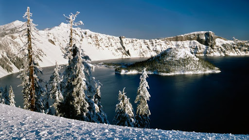 Wizard Island and Crater Lake in Winter, Crater Lake National Park, Oregon.jpg