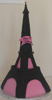 Eiffel Tower pink and black fondant custom creative Paris girl's birthday cake design idea picture