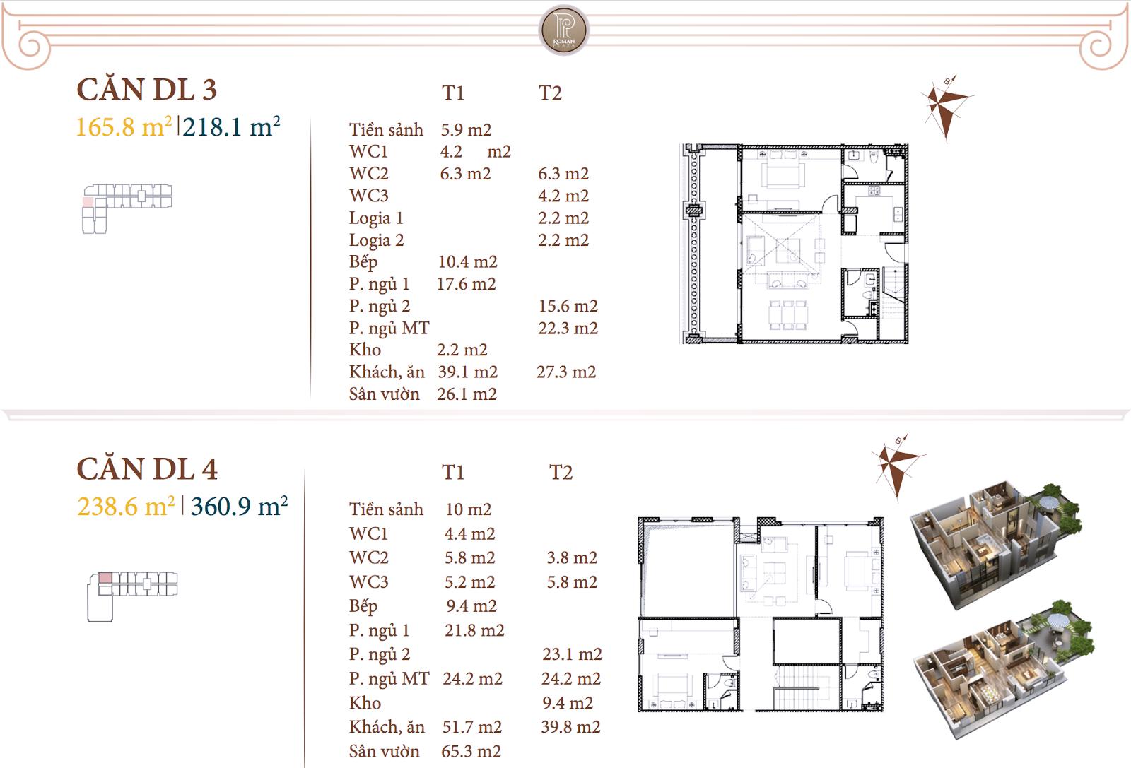 Chi tiết căn hộ DL3 - DL4 dự án Roman Plaza Hà Đông