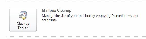 Outlook 2010 Mailbox  cleanup