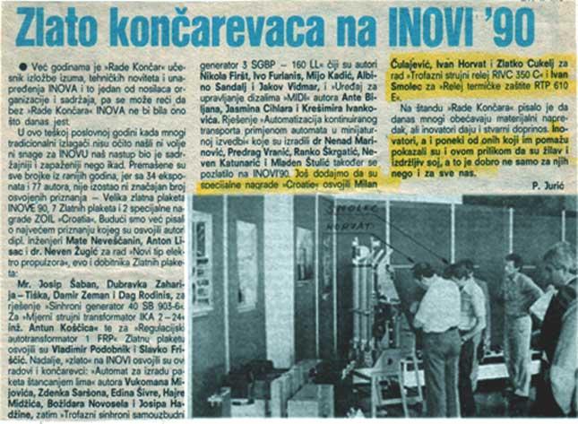 O uspjehu na INOVI 90 u novinama