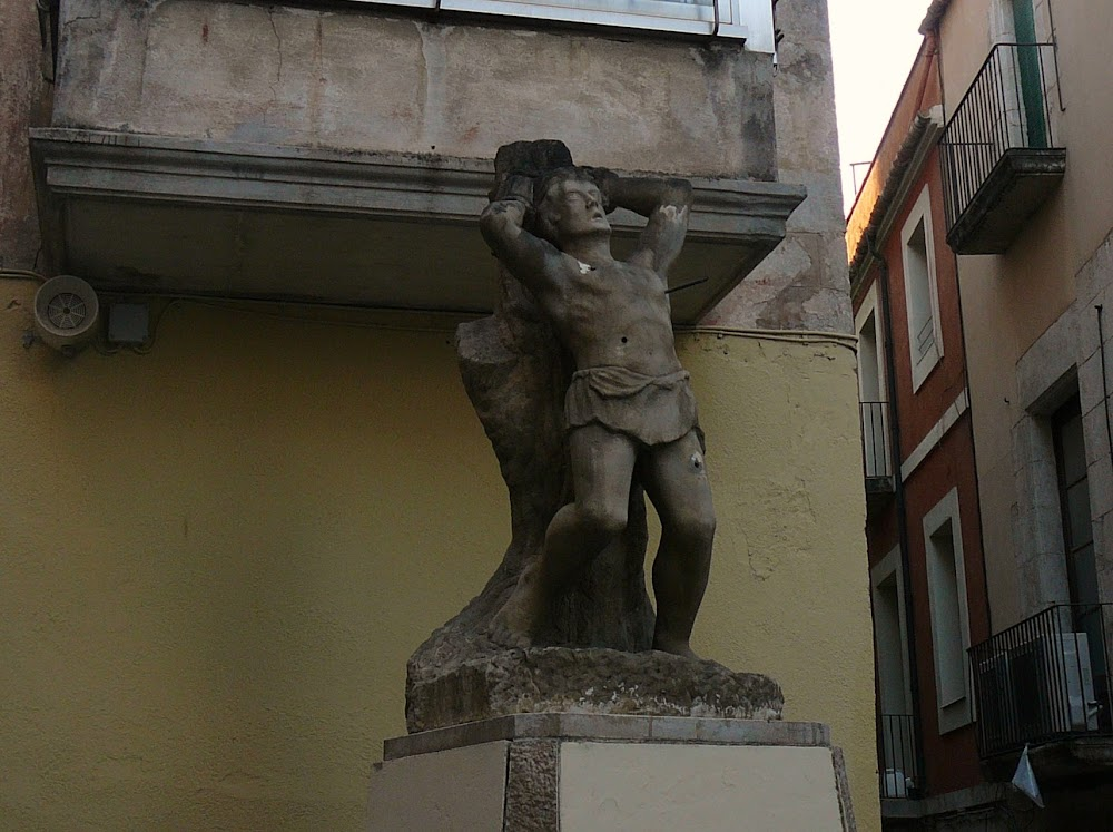 Saint Sebastian stands guard over the old road into Villafranca del Panadés from Cabañas and Granada.