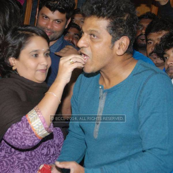 Geetha Shivarajkumar and Shivarajkumar during the latter's birthday celebrations, in Bangalore.
