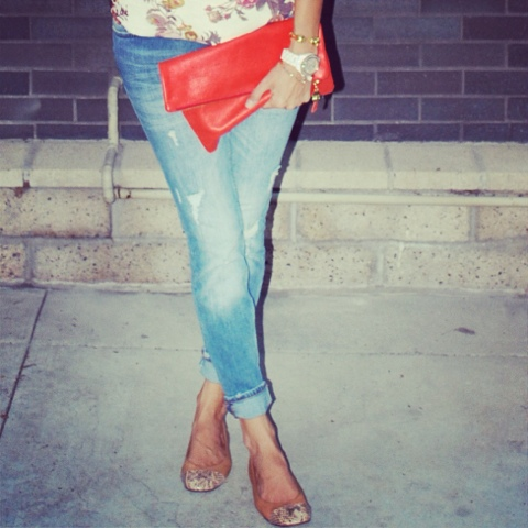 Zara distressed jeans and Lanvin flats