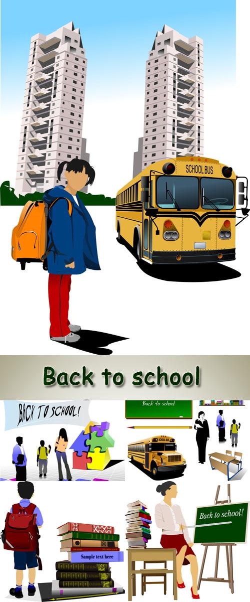 Stock: Back to school. Vector pupils