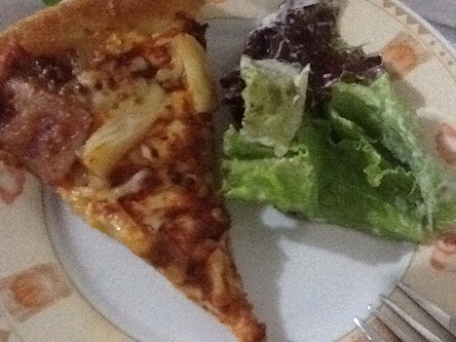 Hawaiian Pizza and garden salad