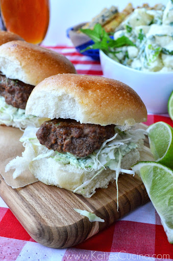 Spicy Beef Sliders from KatiesCucina.com #grilling #recipe #recipesfromtheheart