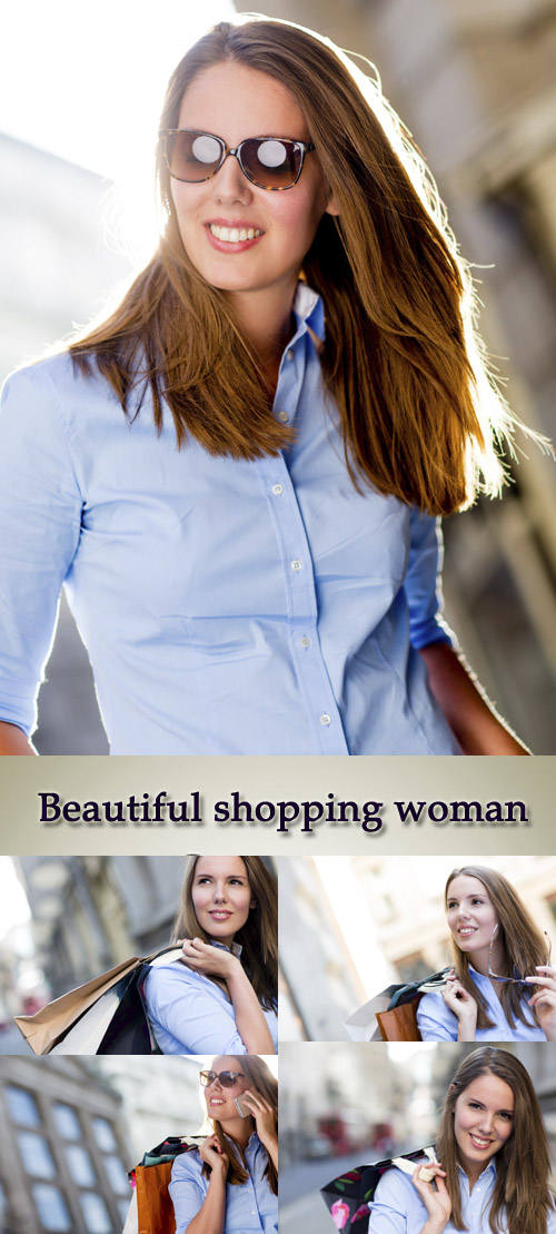 Stock Photo: Beautiful shopping woman