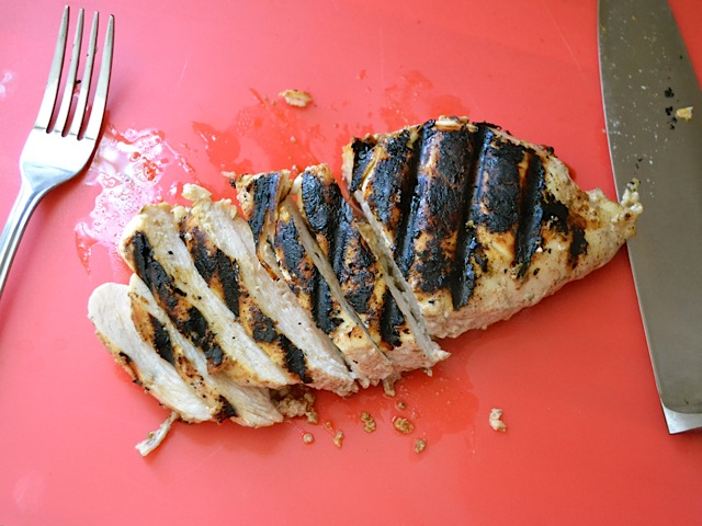 sliced grilled shawarma chicken breast
