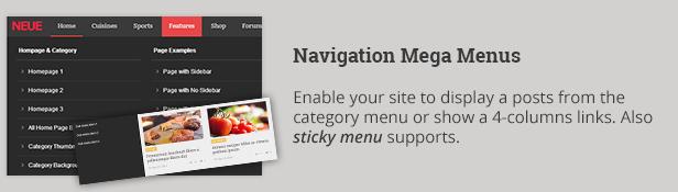 Navigation Mega Menus