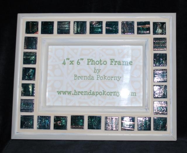MOF1232 Emerald & Cream Mosaic Photo Frame